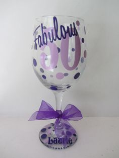 Extra large personalized wine glass fabulous 50 by DottedDesigns