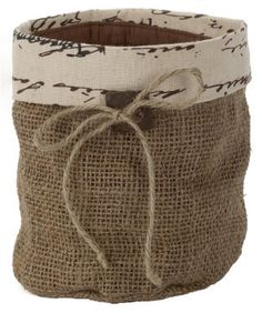 Burlap Pot Cover with Brown Trim by ShoppingBagWarehouse on Etsy, $5.00