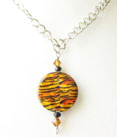 Tiger Necklace Tiger Shell Pendant Necklace by EarthlieTreasures, $23.00