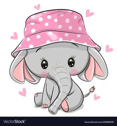 Cute Elephant in panama hat isolated on a white background Ilustraciones De Stoc. - Cute Elephant in panama hat isolated on a white background Ilustraciones De Stock Sin Royalties Gra - Baby Elephant Drawing, Cute Elephant Cartoon, Baby Animal Drawings, Pink Elephant, Cartoon Baby Animals, Elephant Hat, Cute Cartoon Wallpapers, Cartoon Pics, Cute Images