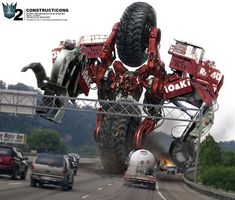 Tribute to Transformers The Movie: 86 Inspiring Artworks / A 86 pies de altura a la parte superior de su rueda. Forma el torso de Devastator #Decepticons