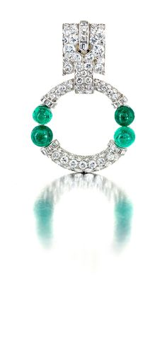 Van Cleef & Arpels emerald and diamond Art Deco brooch, Auction 12 October 2015 | Strauss & Co - Fine Art Auctioneers | Consultants