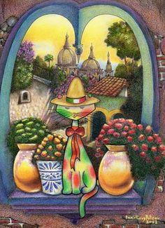 "Saatchi+Online+Artist+daniel+levy;+Drawing,+""MexiCat""+#art"