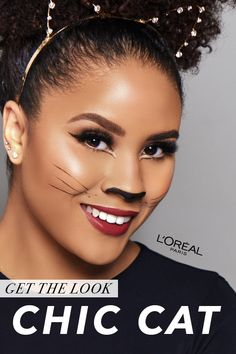 Want to rock a cat Halloween costume this year? Here, learn how to get a chic cat Halloween makeup look with our step-by-step cat makeup tutorial. Cat Halloween Makeup, Cat Eye Makeup, Cute Halloween Costumes, Hair Makeup, Cat Makeup Tutorial, Makeup Inspiration, Makeup Inspo, Makeup Ideas, Pregnant Halloween