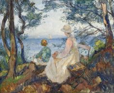 Thorolf Holmboe Coastal Landscape with Two Figures 1920