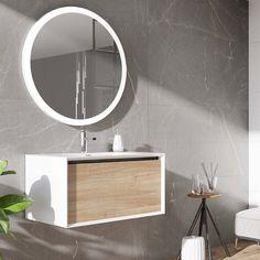 Buy Harbour Scene Wall Mounted Vanity Unit & Basin - White/Oak and save money on our huge range of bathroom furniture. Oak Vanity Unit, White Vanity Unit, Bathroom Vanity Units, White Vanity Bathroom, Wall Mounted Vanity, Simple Bathroom, Bathroom Furniture, Furniture Decor, Bathroom Ideas