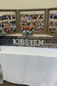 This graduation party senior table features a fun photo display. Photos are cli… – Graduation Ideas – trendsevn Graduation Photo Displays, Graduation Picture Boards, Graduation Open Houses, Graduation Photos, Graduation Ideas, Graduation Party Planning, Graduation Party Decor, Grad Parties, Grad Party Decorations