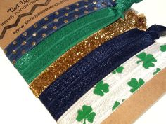 IRELAND IRISH SHAMROCK Kelly Green Gold Glitter by TiedUpLooseEnds, $4.75