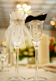 Wedding and groom glasses