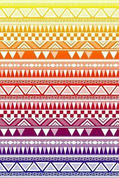 Rainbow Tribal Print Aztec Pattern Wallpaper Phone Screen