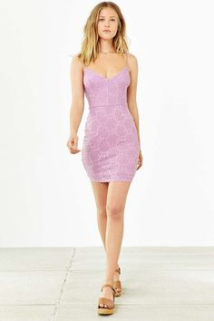 Kimchi Blue Spaghetti-Strap Bodycon Lace Dress - Urban Outfitters