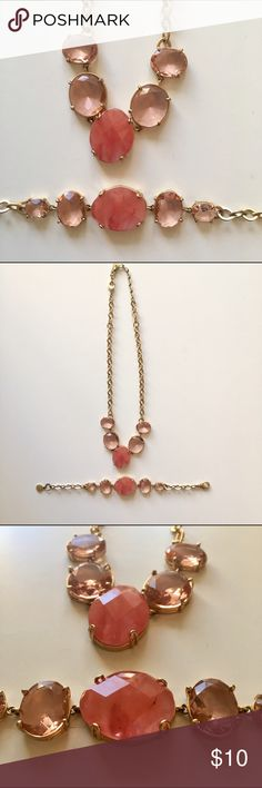 Anne Klein Pink Necklace and Bracelet Necklace = max length = 19 inches, Bracelet = 8 inches max. Bracelet and necklace clasp shows some wear and tear. No trades please! Anne Klein Jewelry Necklaces