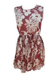 Vestido Flores  Vestido de gasa con estampado de flores. Corte en la cinturacon goma. Abertura en la espalda.Tiene forro.