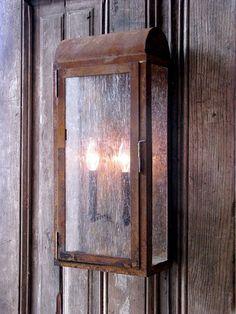 Rustic iron wall lantern indoor and outdoor coastal - Soleria exterior ...