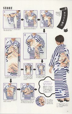 How to tie Hanhaba (?) obi into Cat Ear musubi, worn with yukata. [from Kimono Hime, Volume 11, page 52]