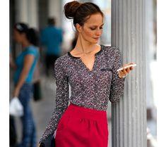Tričko s potlačou   modino.sk #modino_sk #modino_style #style #fashion #blancheporte Blouse, Long Sleeve, Sleeves, Women, Fashion, Moda, Long Dress Patterns, Fashion Styles, Blouses