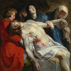 "-- ""The Entombment"" -- Circa 1612 -- Peter Paul Rubens -- Flemish -- Getty Museum Peter Paul Rubens, Oil On Canvas, Canvas Art, Canvas Prints, Canvas Size, Pedro Pablo Rubens, Marie Madeleine, Holy Saturday, Painting Prints"