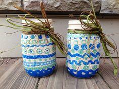 Jars by Monica by JarsByMonica on Etsy #etsy #shop #masonjars #boleslawiecinspired #handpainted