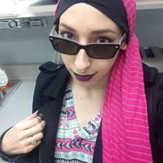 Love when I can make even the brightest colors look goth! <3 // Links to my Instagram for more Alt Hijab styles!