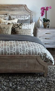 Paint bed and night stands grey like this change handles on night stands maybe a thunderbird stencil on headboard