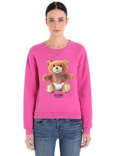MOSCHINO UNDERWEAR TEDDY BEAR PRINT COTTON SWEATSHIRT, FUCHSIA. #moschinounderwear #cloth #lingerie