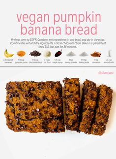 This vegan pumpkin banana bread is a major hit! Not only is it packed with flavour but its a healthy treat you can serve Healthy Desayunos, Healthy Vegan Desserts, Healthy Dessert Recipes, Vegan Snacks, Whole Food Recipes, Vegan Recipes, Cooking Recipes, Pumpkin Banana Bread, Healthy Banana Bread