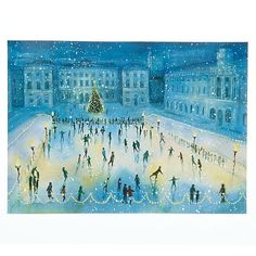 Buy The Almanac Gallery Somerset House Skaters Charity Christmas Cards, Box of 10 Online at johnlewis.com Charity Christmas Cards, Boxed Christmas Cards, Christmas Ideas, Christmas Decorations, December Daily, Love Blue, Green Trees, Time Of The Year, Somerset