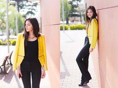 A Drop of Happiness (by Doina Ciobanu) http://lookbook.nu/look/3388283-Zara-Yellow-Blazer-A-Drop-Of-Happiness