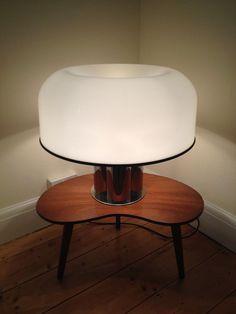 Vintage 1970s Huge Guzzini White And Chrome Mushroom Table Lamp Mid Century