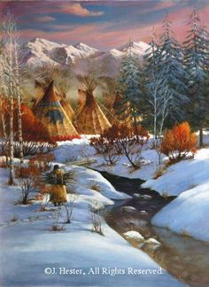 """Daily X framed original oil painting -Shades of Winter - Recently Sold Original Oils by J. Native American Models, Native American Paintings, Native American Pictures, Native American Beauty, Indian Pictures, American Indian Art, Native American History, Indian Paintings, Native American Teepee"