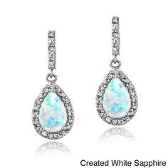 Glitzy Rocks Sterling Silver Created Opal and Gemstone Teardrop Dangle Earrings