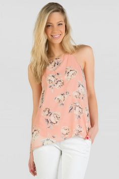 Under $40! Pink floral tank+ white pants = cute spring and summer outfit!
