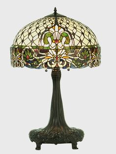 Rococo Stained Glass Table Lamp - 32 inches tall... US $1,125.75 in Antiques, Decorative Arts, Lamps
