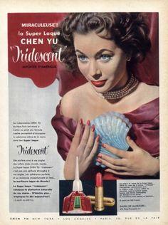 Chen Yu 1954 Lipstick, Nail Polish Vintage Makeup Ads, Vintage Nails, Vintage Beauty, Vintage Fashion, Kiss Makeup, Eye Makeup, Beauty Ad, Beauty Products, Peggy Sage