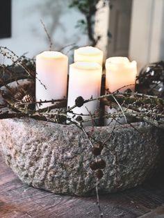 The house of stine and henrik busks in copenhagen Rustic Candles, Pillar Candles, Romantic Candles, Cement Planters, Entertainment Center Decor, Diy Tv, December 2013, Copenhagen, Candle Holders