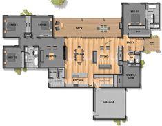 Floor Plan Friday: 4 bedroom, 3 bathroom with modern skillion roof Open Floor House Plans, Porch House Plans, Farmhouse Floor Plans, House Plans One Story, Country House Plans, New House Plans, Dream House Plans, Modern House Plans, Small House Plans