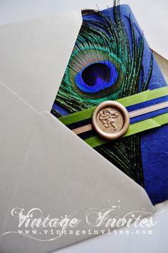 The Sophie Paris Vintage Peacock Wedding Invitation
