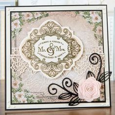 #WeddingCard made using the Mounted Stamp Set, Mr & Mrs Vintage! Buy now: http://www.createandcraft.tv/JustRite_Cling_Mounted_Stamp_Set_-_Mr_and_Mrs_Vintage_Labels_4-277890.aspx?p=1 #papercraft #cardmaking