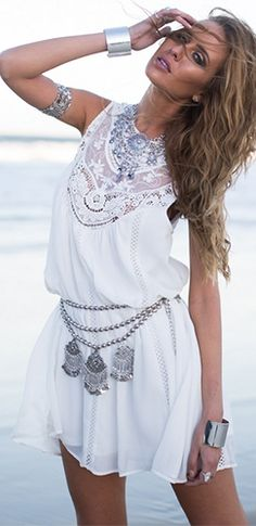 By the Sea White Sheer Mesh Lace Sleeveless Scoop Neck Loose Shift Mini Dress