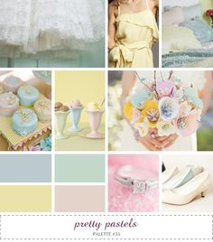 inspiration board - pretty pastels #blue #green #yellow #pink