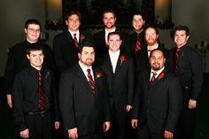 Groomsmen & ushers.  Groomsmen wore black suits & white shirts.  Ushers wore black shirts & slacks.  All wore matching ties.