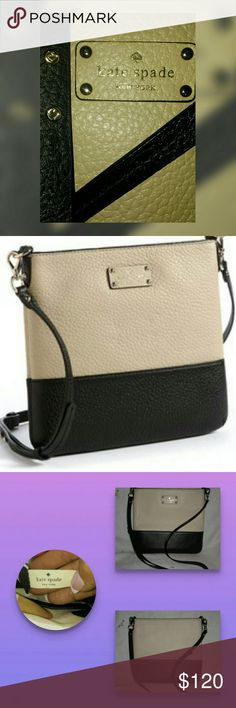 👜LOVELY ~ KATE SPADE~👜 This is a stunning New York grove court Cora leather crossbody . Only used twice. Posted as many pics as possible last pic is Kate spade and strap with spades on it. For some reason it looks yellow in some pics but original color is the brown cream color. With blk. Gold hardware, one inside  zipper pocket and 2 side pockets, adjustable strap. No scratches or tears..one little snag on bottom of the bag as 7th pic shows. Otherwise great condition. Plenty of room…