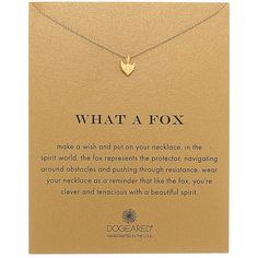 Dogeared What A Fox Reminder Necklace (Gold Dipped) Necklace ($58) ❤ liked on Polyvore featuring jewelry, necklaces, fox pendant, chain pendants, handcrafted necklaces, pendant jewelry and pendant chain necklace