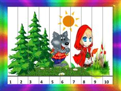 Games For Kids, Activities For Kids, Puzzles, Preschool Education, Math Games, Little Red, Fairy Tales, Christmas Ornaments, Holiday Decor