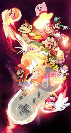 I know Kirby and donkey kong aren't apart of super Mario, but I like this picture so I still pin on my board. I know Kirby and donkey kong aren't apart of super Mario, but I like this picture so I still pin on my board. Donkey Kong, Super Nintendo, Nintendo Games, Super Smash Bros, Super Mario Bros, Super Mario Tattoo, Nintendo Characters, Video Game Characters, Old Games