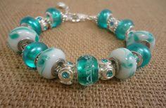 Aqua European Charm Bracelet / Pandora Style Bracelet