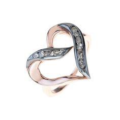 Diamond Large Open Heart Rosegold Ring