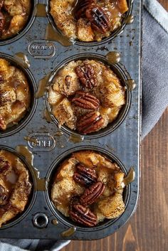 Mini Pecan Pie Bread Pudding Muffins combine the trademark flavor of a pecan pie with the comforting classic, bread pudding. Plus, this easy bread pudding recipe makes individual servings for an even cuter dessert experience. Bite Size Desserts, Köstliche Desserts, Dessert Recipes, Mexican Desserts, Egg Recipes, Plated Desserts, Bread Recipes, Breakfast Desayunos, Breakfast Recipes