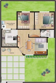 projeto arquitetonico de casas planta baixa 3 quartos - Pesquisa Google: