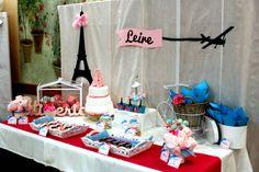 Mesa dulce para comunión de niña con temática de París - Paris themed sweet table for a girl's party